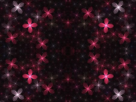 Sparkle effect pink and white flowers, computer generated, fractal abstract background. 版權商用圖片