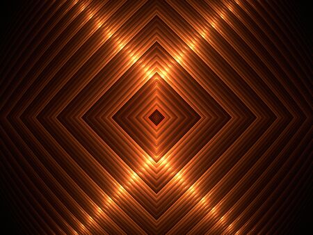 Golden ribbons form a diamond shape, computer generated, fractal abstract background. Stock Photo