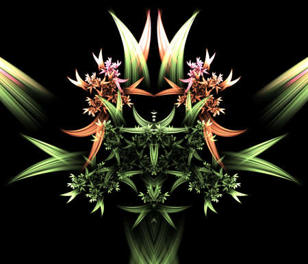 Colorful floral shape arrangement, computer generated, fractal abstract background.