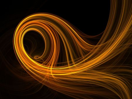 Swirling golden hues of color, computer generated, fractal abstract background. 免版税图像