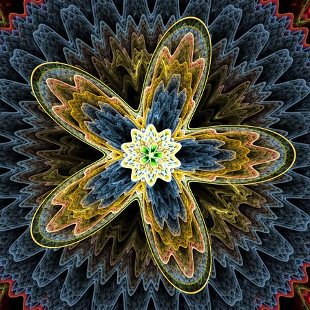 Colorful, textured, layered floral star (computer generated, fractal abstract background)