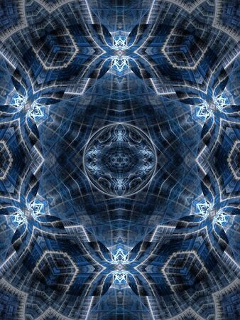 layered sphere: Layered textured blues are accentuated with a star design sphere with glowing edge (computer generated, fractal abstract background)