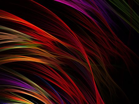 Deep hues of bright color, flows and cascades (computer generated, fractal abstract background)