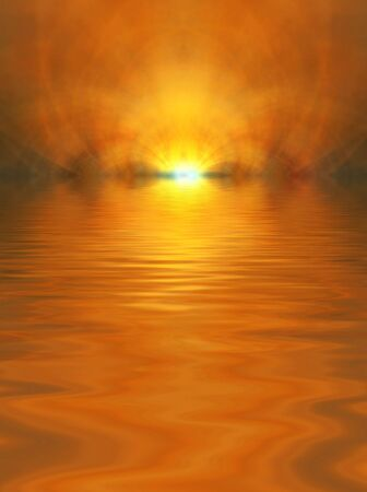 Beautiful orange glow accentuated with water ripple effect (computer generated, fractal abstract background) photo