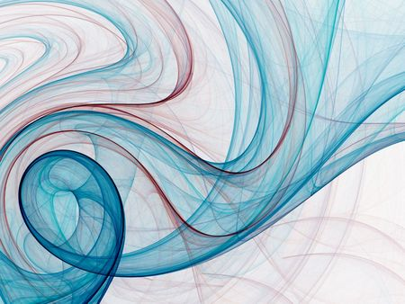 Softly blurred, strands of blues and red (computer generated, fractal abstract background)