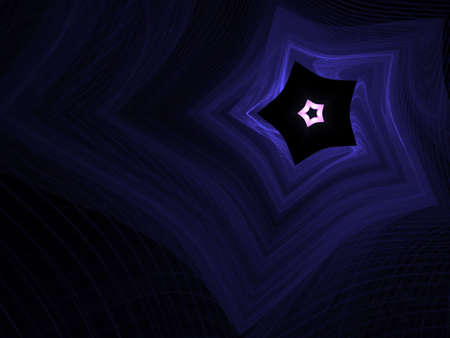 sheer: Sheer woven blue threads form a star design (computer generated, fractal abstract background)