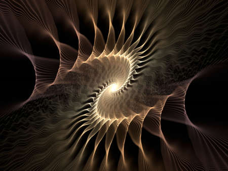 Golden brown wispy textured spiral (computer generated, fractal abstract background) Stock Photo - 1478751