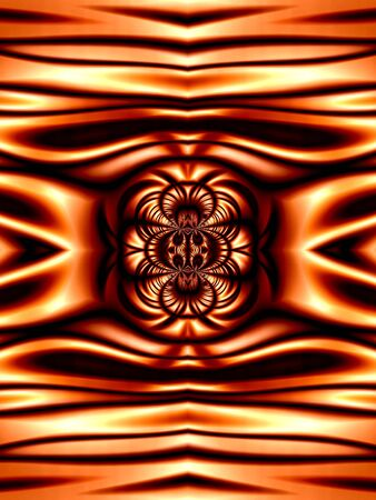 Metallic like, orange with dark stripes pattern (computer generated, fractal abstract background) Stock Photo