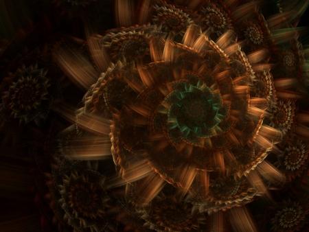 Couches, spirales scintillants et de texture tissés ensemble (ordinateur généré, fractale abstraite arrière-plan)  Banque d'images - 1674509