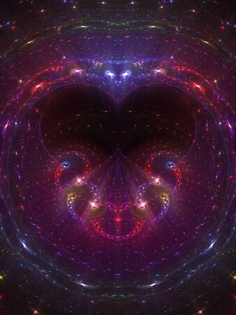Celestial theme effect in subtle heart shape (computer generated, fractal abstract background) photo