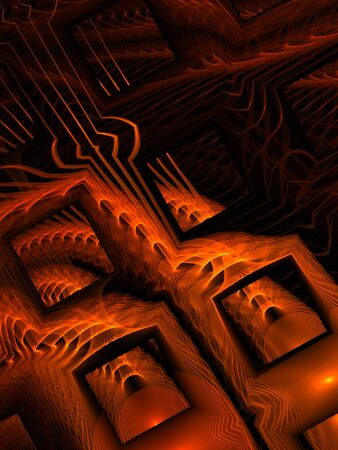 Grid box and streaking orange pattern (computer generated, fractal abstract background) photo