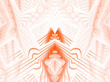 threaded: Geometric, threaded orange flame tones (computer generated, fractal abstract background)