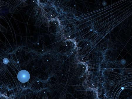 Collision futuriste de threads et orbs (généré par ordinateur, contexte abstrait fractale) Banque d'images - 1736889