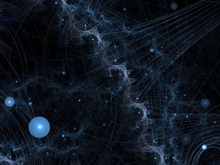 Futuristic collision of threads and orbs (computer generated, fractal abstract background)