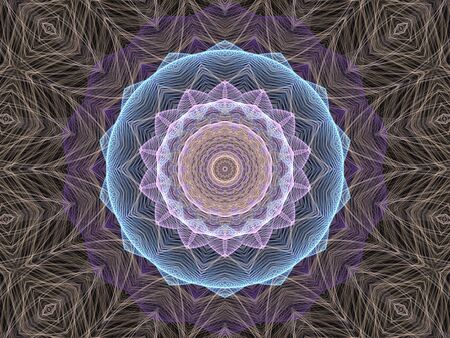 Pastel threads forming a kaleidoscopic pattern  (computer generated, fractal abstract background) photo