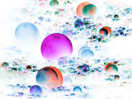 Bright, multicolored bunches of 3d orbs (computer generated, fractal abstract background) Stock Photo - 1884776
