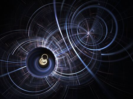 effect: Futuristic, circular lines in motion (computer generated, fractal abstract background) Stock Photo