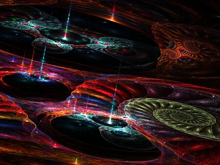 Colorful 3d fractal with perspective effect (computer generated, fractal abstract background) Stock Photo