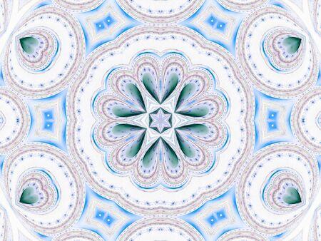 Softly reflective mandala star, hearts design (computer generated, fractal abstract background) photo