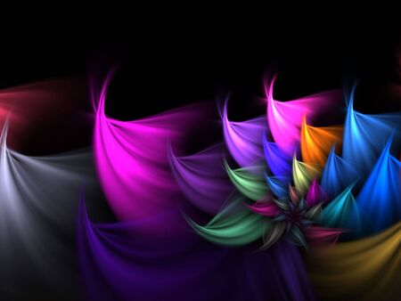 petal: Multicolor petal spiral (computer generated, fractal abstract background)
