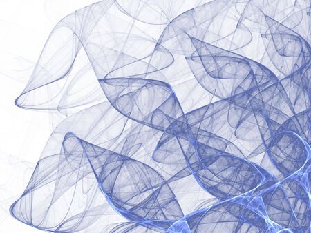 tangling: Tangling blue fibers (computer generated, fractal abstract background) Stock Photo