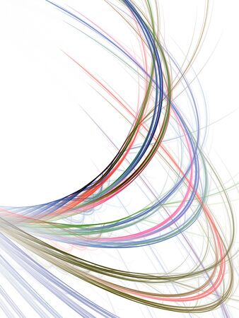 Colorful arching, tangled threads (computer generated, fractal abstract background) 免版税图像