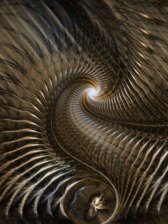 Softly glowing, threaded spiral (computer generated, fractal abstract background) photo