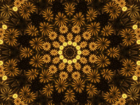 golden daisy: Flower pattern, kaleidoscopic design (computer generated, fractal abstract background) Stock Photo