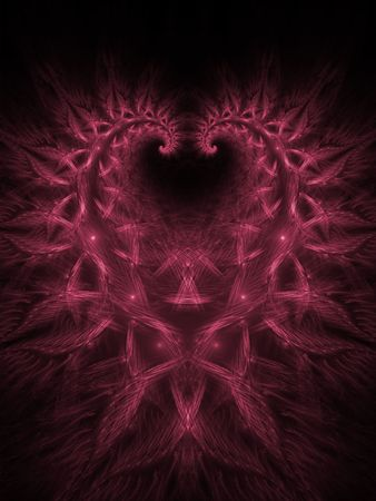 Woven textures into heart shape (computer generated, fractal abstract background) photo