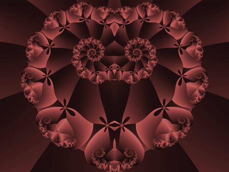 Red, spiraling kaleidoscope heart shape (computer generated, fractal abstract background) photo