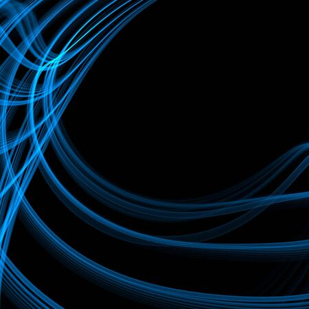 swooping: Swooping and curving, blue thread layers (fractal abstract background)