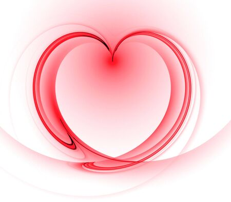 Flowing, shaded heart shape - fractal abstract background