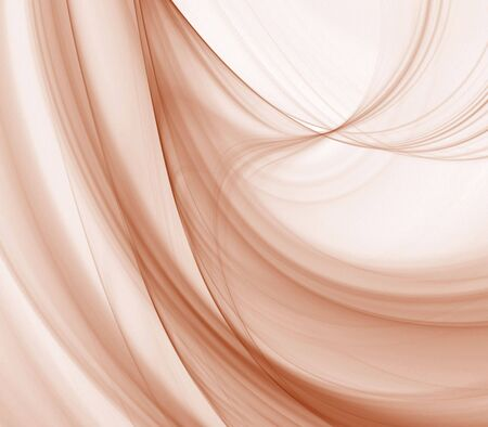 fibrous: Curving, light brown fibrous fabric texture - fractal abstract background Stock Photo