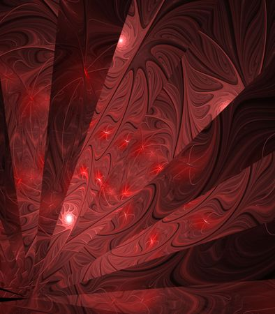 fibrous: Red fibrous textures in fanning effect - fractal abstract background