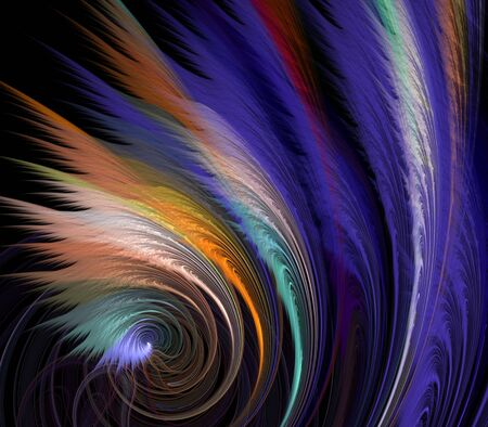 feathery: Feathery textures fanning from coiling thread textures - fractal abstract background Stock Photo
