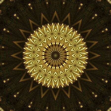 Gold and browns, round ornate pattern - digital abstract background