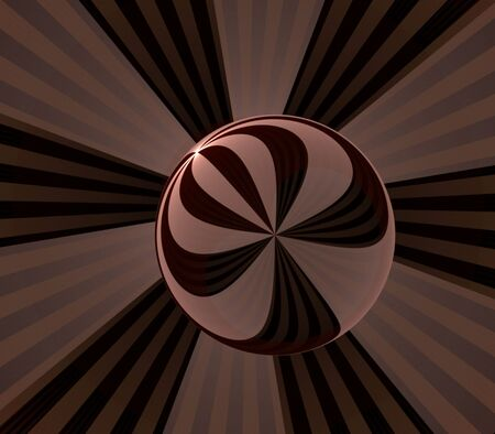 Striped ball shape against fanning stripes - fractal abstract background Zdjęcie Seryjne