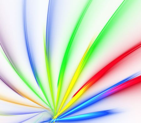Brightly, rainbow colored fanning effect - fractal abstract background