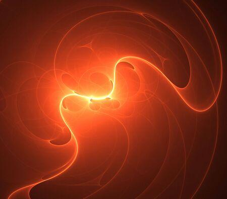 ホット オレンジ、照らされたテクスチャ - フラクタル抽象的な背景を流れる
