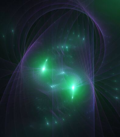 sheer: Green abstract forms with sheer flowing purple texture - fractal abstract background