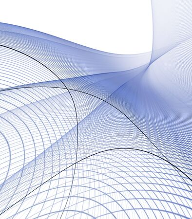 Blue, woven squares, flowing grid pattern - fractal abstract background photo