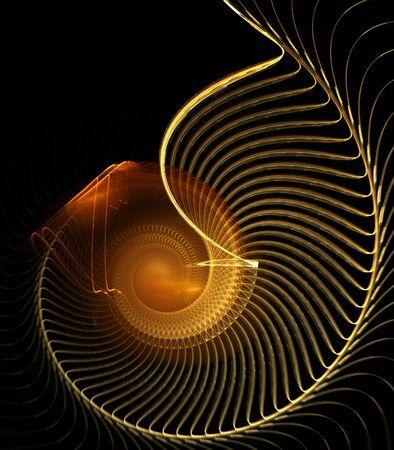黄金の茶色、繊維のスパイラル デザイン - フラクタル抽象的な背景 写真素材