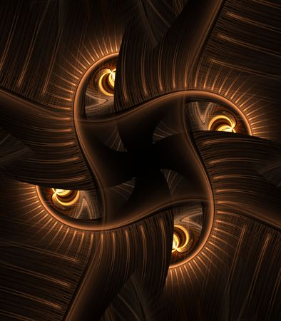 fibrous: Golden fibrous texture in a cross weave pattern - fractal abstract background Stock Photo