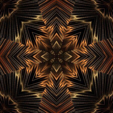 万華鏡のような流れるスレッド デザイン、シームレスなタイル - フラクタル抽象的な背景