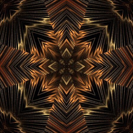 Caleidoscopisch, vloeiende threads ontwerpt, naadloze tegel - fractal abstract achtergrond