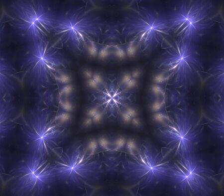 ブルー バイオレット、万華鏡のような効果 - フラクタル抽象的な背景 写真素材