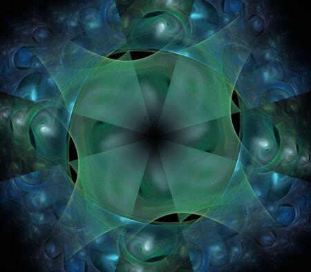 ラウンド、レイヤードと編まれた青い緑テクスチャ - フラクタル抽象的な背景