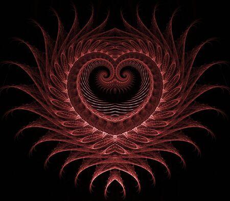 Gelaagde, prachtige textuur hart ontwerp - fractal abstract achtergrond