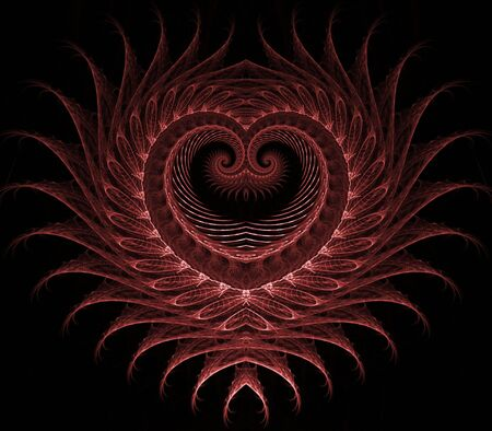 Layered, beautiful textured heart design - fractal abstract background