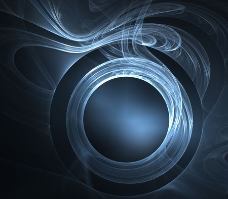 gauzy: Silver blue, gauzy fabric textures and circular shape - fractal abstract background Stock Photo